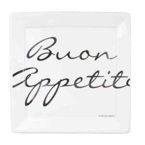 Piatto quadrato  con scritta buon appetito  cm26x26 square plate in ceramica