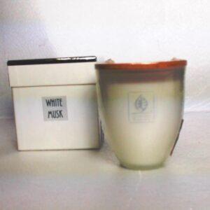 Candela a bicchiere vetro con tappo profumato fragranza white musk