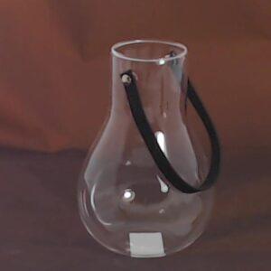 Vasetto  pensile  con cordino nero in vetro trasparente