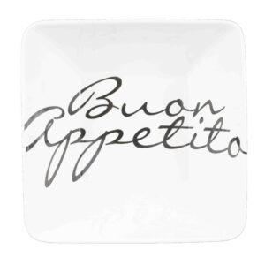 Bowl large con scritta buon appetito  colore bianco e scritta nero  in ceramica cm.24x24x10.