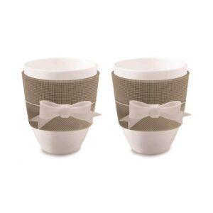Set due Tazzine caffe' con fiocco bianco colore tortora.