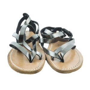 Sandalo N.40 sandalo in vero cuoio colore titanio.