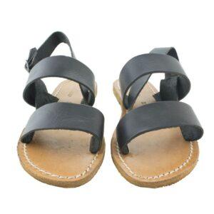 Sandalo N.38 sandalo in vero cuoio colore nero.