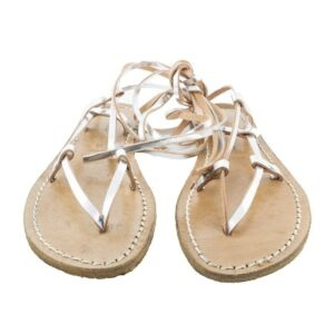 Sandalo N.37 sandalo in vero cuoio colore argento.