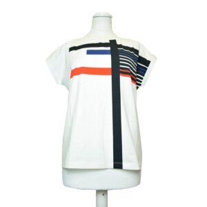 T-Shirt Tg.m ts02pe17 manica corta unica stampa colore bianco riga blue.
