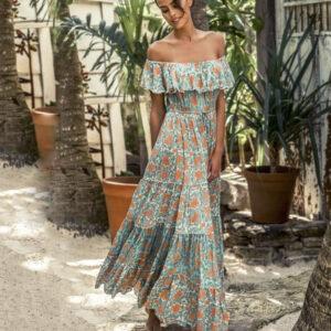Vestito Tg.free art.j55 robe dress gardenia turquoise 100%modal