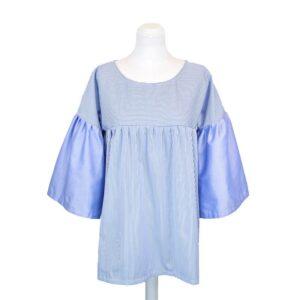 Camicia tg.unica cotone manica lunga a righe azzurro e bianco.