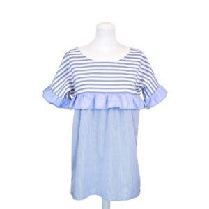 Camicia tg.unica cotone manica lunga a righe bianco e azzurro.