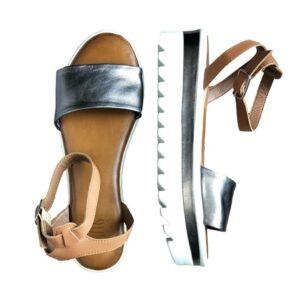 Sandalo lo 8223 pewter-coconut colore argento.