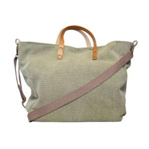 Borsa shopping manico corto in cuoio manico lungo in canvass colore tortora.