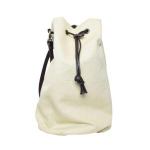 Borsa secchiello canvass manico lungo in cuoio panama colore beige.