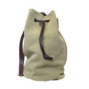 Borsa secchiello canvass manico lungo in cuoio panama colore tortora.