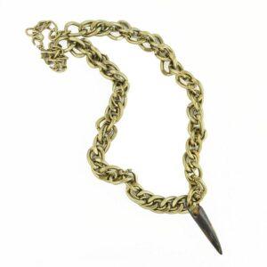Collana catenona anelli grandi con corno colore bronzo.