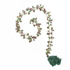 Collana campanellini bronzo e giumetto verde.