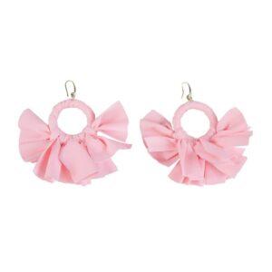 Orecchino rosa a fiocchi fatto artigianalmente nostra produzione.