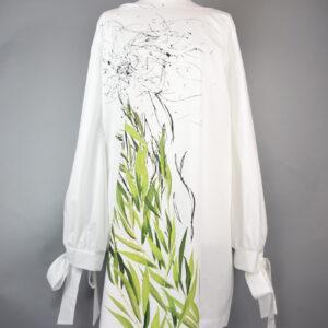 Abito  Tg.m p17/18 cotone stampa jungle colore bianco/verde
