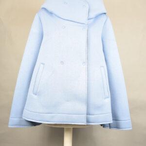 Cappotto a18gm603 cappottino corto bicolore azzurro.