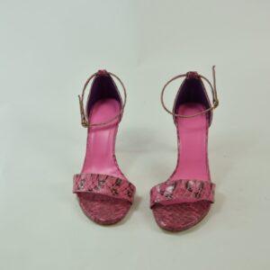 Sandalo  donna n.36 pitone estivo collezione primavera estate 2019 colore rosa produzione nostra artigianale Disco d'oro limitata pezzi unici.