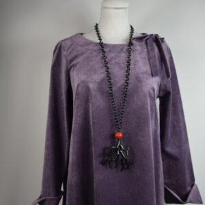 Collana donna catena colore nero con ciondolo rosso e corallo a forma di ramo nero prodotto artigianale di nostra produzione collezione primavera estate 2019