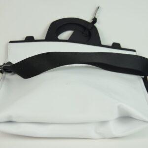 Borsa donna materiale nappa colore bianco con manico e tracolla nero ditta produttrice hags collezione primavera estate 2019