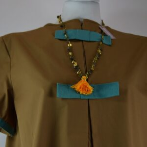 Collana donna nome articolo filicudi con campanellini e medagliette colorate  con nappa gialla collezione primavera estate 2019 nostra produzione
