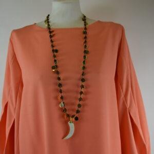 Collana con medagliette oro e corno colore avorio nostra produzione continuativa collezione primavera estate 2019