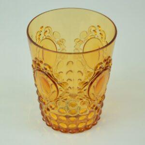 Bicchiere acqua colore ocra in resina brgwa.bar040 casa produttrice baci milano.