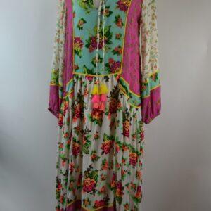 Abito daphne robe-dress taglia free 100% crepon rayon colore tropical-white articolo m-35 collezione primavera estate 2019  produttore miss june.