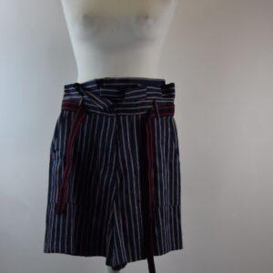 Pantalone donna nome articolo cardamomo  estivo collezione primavera estate 2019 bermuda lino blue rigato gro rigato sartoria limitata pezzi unici stilista Giotta di rimini.