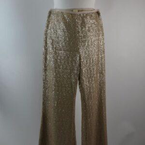 Pantalone donna modello holly  n.y.sequins  estivo collezione primavera estate 2019 colore beige con perline composizione 100%pl  sartoria limitata pezzi unici stilista sermar srl.