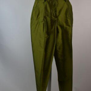 Pantalone donna nome articolo t339 311 moello betty  estivo collezione primavera estate 2019  colore verde hampshire silk 100%seta sartoria limitata pezzi unici stilista sermar