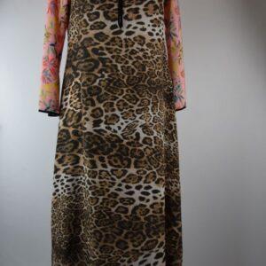 Abito donna nome modello singolo print silk duo dress leo+peach estivo collezione primavera estate 2019  colore leopardo  sartoria limitata pezzi unici stilista miki thumb