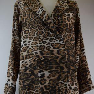 Giacca donna nome modello sabrina print special silk jacket leo classic estivo collezione primavera estate 2019  colore leopardo  sartoria limitata pezzi unici stilista miki thumb