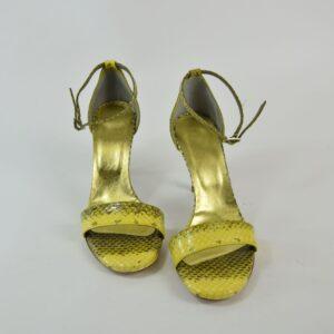 Sandalo donna pitone nostra produzione artigianale collezione primavera estate 2019 colore giallo tacco alto cm.8