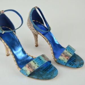 Sandalo donna pitone nostra produzione artigianale collezione primavera estate 2019 colore blue e beige tacco alto cm.8