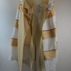 Gonna donna taglia unica modello g01 fatto a mano con tessuti tradizionali salentini collezione primavera estate 2019 colore bianco ocra 100%lino ditta nina leuca.