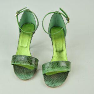 Sandalo donna in pitone nostra produzione artigianale colore verde scuro/oro collezione primavera estate 2019