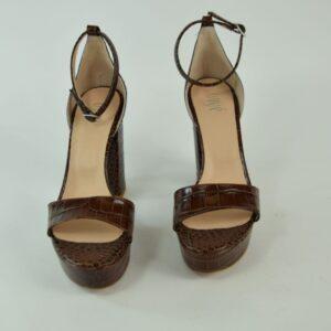 Sandalo donna  articolo ac5001 materiale cocco choco tacco cm.10,5 colore marrone fondo thp collezione primavera estate 2019