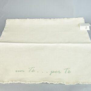 Tovaglietta con scritta te per te in puro cotone bianco