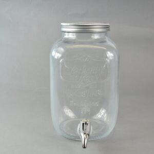 Dispencer in vetro con rubinetto 3,8l 16x21h25cm.con tappo in latta.