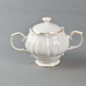Zuccheriera colore bianco con bordo oro gress porcellanato