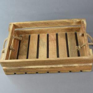 Cassetta di legno cm38x25x9 con manici di corda media