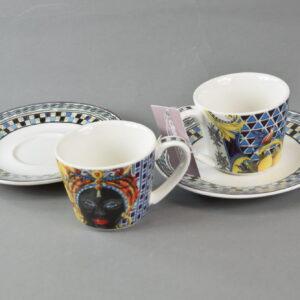 Set 2 coffee cups saucers maroc&roll baroque&rock sicily blu baci milano