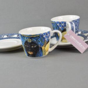 Set 2 coffee cups saucers bmcof.brm02 maroc&roll baroque&rock sicily blu baci milano