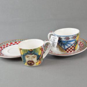 Set 2 coffee cups saucers bmcof.brm03 maroc&roll baroque&rock sicily rosso baci milano