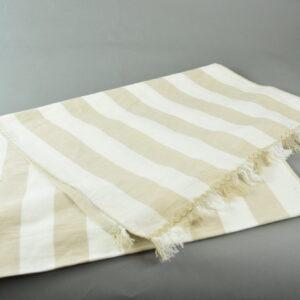 Runner tessuto a righe windy crema misto lino cm.45×150