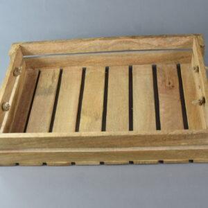 Cassetta di legno cm45x30x9 con manici di corda grande