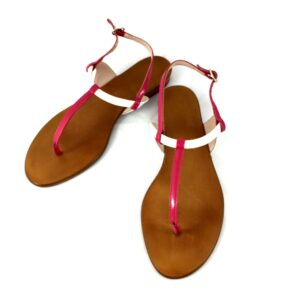 Sandalo n.38  vernice bianco/fuxia
