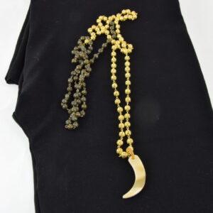Collana  filigrana oro e bronzo con corno in osso