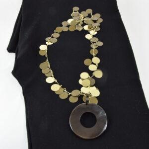 Collana  filigrana oro e bronzo con corno in osso scuro